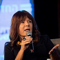 Israeli journalist Rina Matsliah pictured at a conference at the Jerusalem International Convention Center (ICC) on September 3, 2018. (Yonatan Sindel/Flash90)