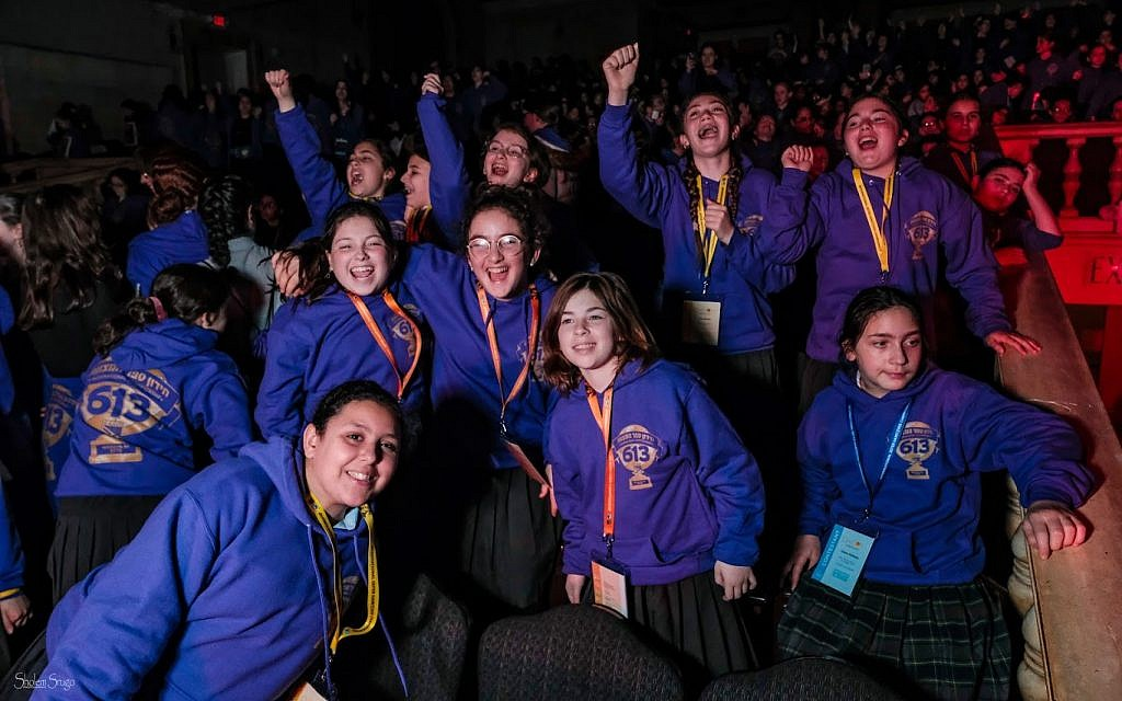 Girls having a great time at the 5th annual Chidon Sefer Hamitzvos Girls' Tournament in Newark, New Jersey, March 31, 2019. (Courtesy Chabad/Sholem Photography)