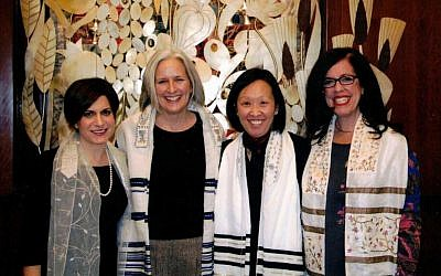 SooJi Min-Maranda, second from right, at her bat mitzvah celebration. (Courtesy)