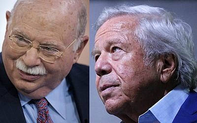 Montage of Michael Steinhardt, chairman of WisdomTree Investments Inc., (L), speaking during an interview in New York, on April 12, 2012. (Scott Eells/Bloomberg via JTA) and Robert Kraft, owner of the NFL's New England Patriots football team, looking on during Super Bowl LIII Opening Night at State Farm Arena on January 28, 2019 in Atlanta, Georgia. (Kevin C. Cox/Getty Images/AFP)