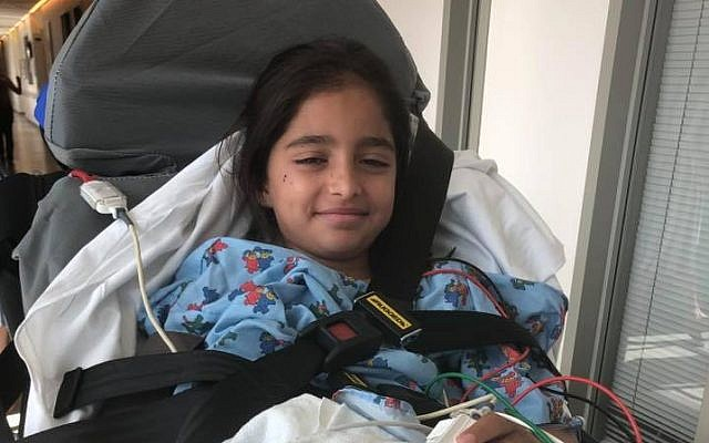 Noya Dahan, an Israeli girl injured in a shooting at a US Chabad synagogue in Poway, California on April 27, 2019. (Courtesy)