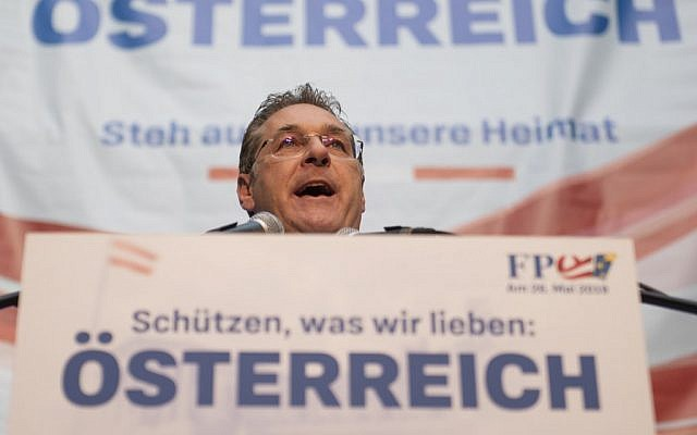 Heinz Christian Strache, FPOe chairman and Austrian vice-chancellor, speak's during his far-right party's rally to support its candidate in EU elections, at Lugner City shopping center in Vienna, Austria, on April 26, 2019. (Joe Klamar/AFP)