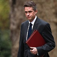 In this photo from April 2, 2019, Britain's  then Defense Secretary Gavin Williamson arrives at Downing Street in London for a cabinet meeting. (Adrian Dennis/AFP)