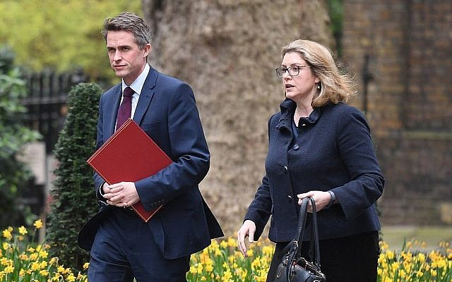 In this photo from April 8, 2019, Britain's Defense Secretary Gavin Williamson (L) and Britain's International Development Secretary and Minister for Women and Equalities Penny Mordaunt arrive iat Downing Street in central London. (Daniel Leal-Olivas/AFP)
