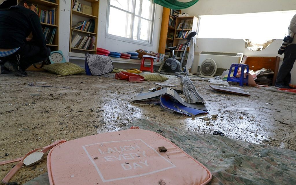 Objects are scattered in a house that was hit by a rocket fired from the Gaza Strip in the southern Israeli village of Netiv Ha'asara, on May 4, 2019. (Jack Guez/AFP)