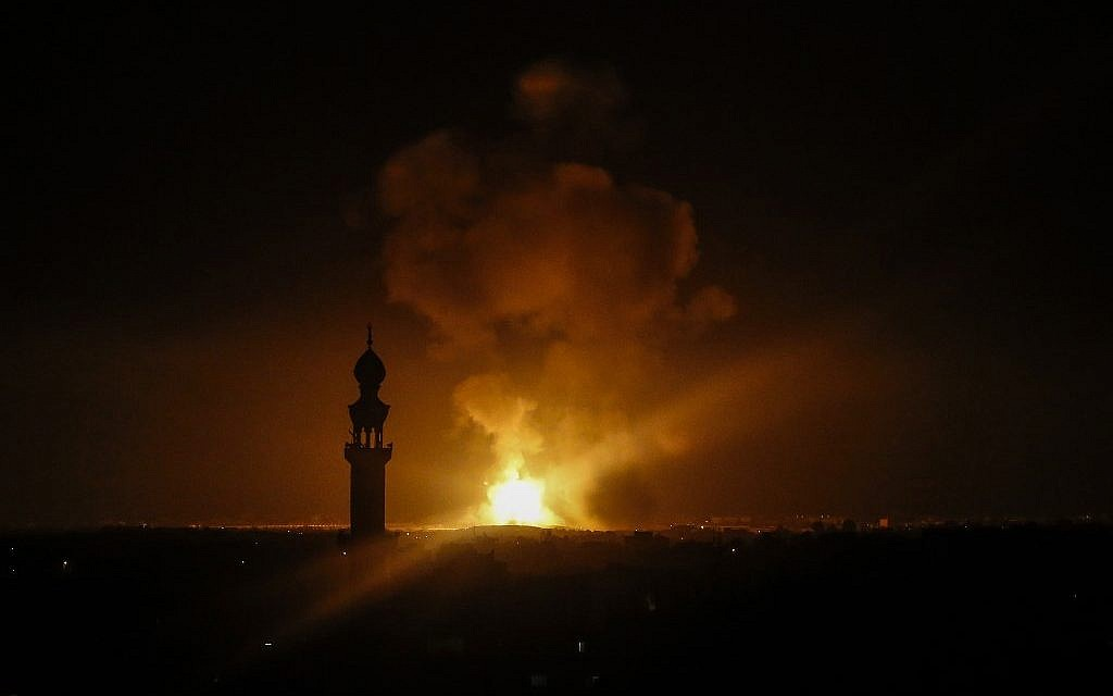 A picture taken in Rafah in the southern Gaza Strip, on May 5, 2019 shows an explosion following an airstrike by Israel. (Said Khatib/AFP)