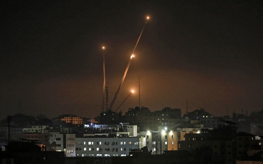 A picture taken in Gaza city on May 5, 2019, shows rockets fired toward Israel from the Gaza Strip. (Mahmud Hams/AFP)