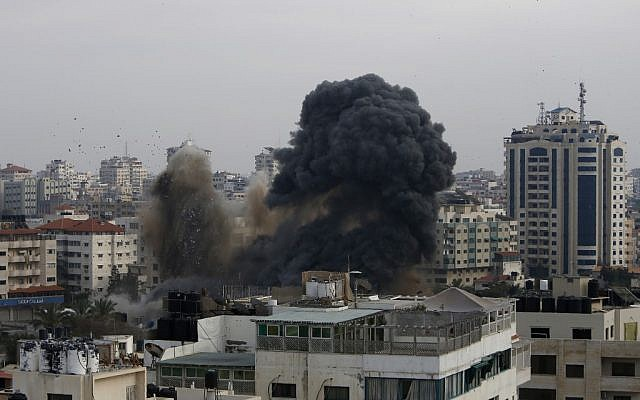 Smoke billows from a targeted neighbourhood in Gaza City during an Israeli airstrike on the Hamas-run Palestinian enclave on May 5, 2019.  (MOHAMMED ABED/AFP)