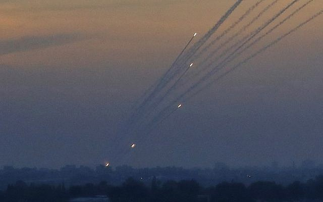 A picture taken on May 5, 2019 from the Israel-Gaza border shows a barrage of rockets being fired from the Hamas-run Palestinian enclave. (Jack Guez/AFP)