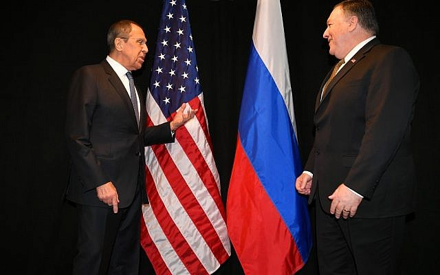 US Secretary of State Mike Pompeo, right, talks with Russia's Foreign Minister Sergei Lavrov as they meet on the sidelines of the Arctic Council Ministerial Meeting on May 6, 2019 in Rovaniemi, Finland. (MANDEL NGAN / POOL / AFP)