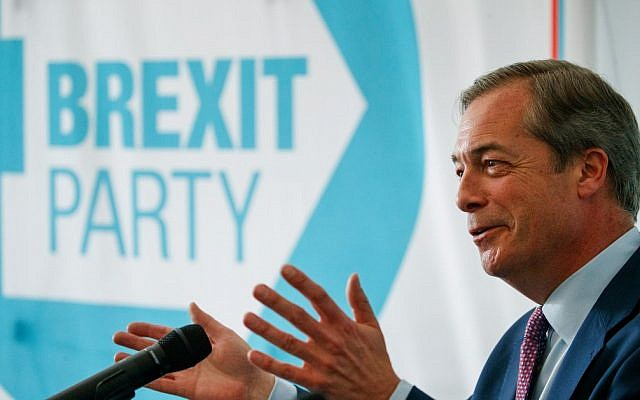 Brexit Party leader Nigel Farage speaks at a press conference regarding the party's European Parliament election campaign in London on May 7, 2019. (Photo by Tolga Akmen / various sources / AFP)