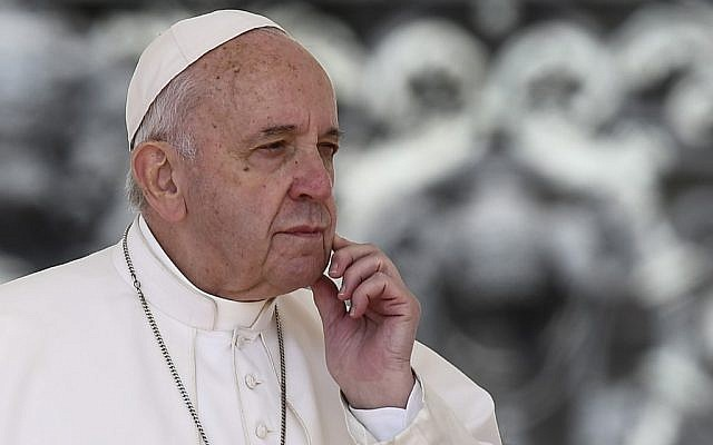 Pope Francis during the weekly general audience on May 8, 2019, at St. Peter's Square in the Vatican. (Filippo Monteforte/AFP)