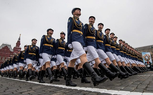Russian servicewomen march through Red Square during the Victory Day military parade in downtown Moscow on May 9, 2019. (Mladen ANTONOV / AFP)