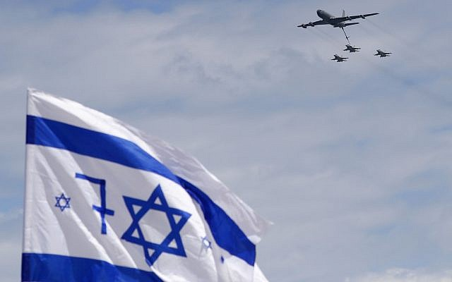An Israeli Air Force Boeing KC-135 Stratotanker and F-16 fighter jets perform during an air show over Tel Aviv on May 9, 2019, as Israel marks its 71st Independence Day. (Jack Guez/AFP)