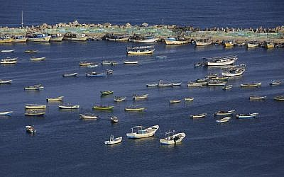 Palestinian fishing boats are seen in the Mediterranean Sea at the port in Gaza City on May 10, 2019. (Mohammed Abed/AFP)