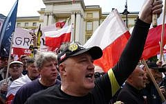 Far right demonstrators protest against the US Senate's 447 Holocaust Restitution bill, in Warsaw on May 11, 2019. (Alik KEPLICZ / AFP)