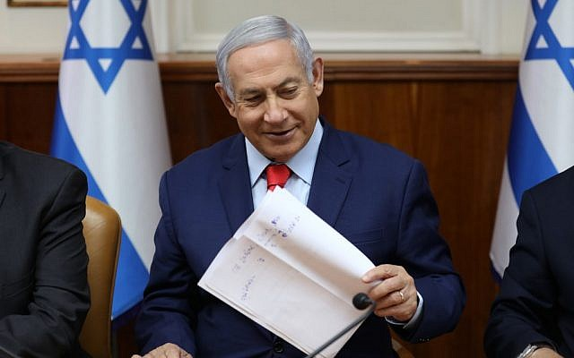 Prime Minister Benjamin Netanyahu at the start of the weekly cabinet meeting at his Jerusalem office on May 12, 2019. (Gali Tibbon/Pool/AFP)