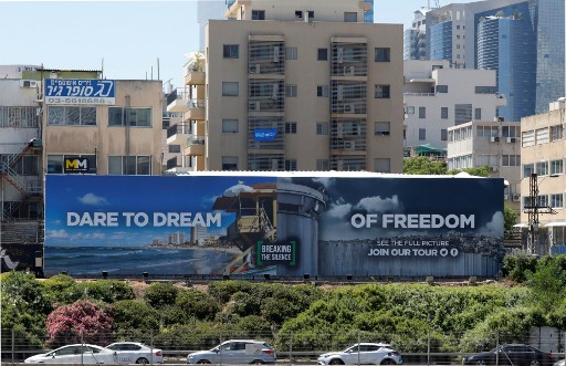 13 2019 shows an anti-occupation billboard by Israeli NGO Breaking The Silence erected on a street in the Israeli coastal city of Tel Aviv