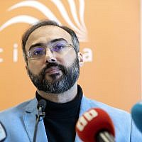 Arab pro-democracy activist, author and blogger Iyad el-Baghdadi attends a press conference in Oslo on May 13, 2019. (Ryan KELLY / NTB Scanpix / AFP)