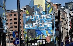 A mural reading 'The Future is Europe' is seen near the European institutions ahead of the European parliamentary elections in Brussels on May 14, 2019 (EMMANUEL DUNAND / AFP)