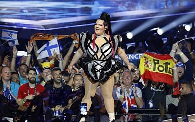 Israel's Netta Barzilai, the winner of last year's Eurovision contest, performs during the opening ceremony of the first semi-final of the 64th edition of the Eurovision Song Contest 2019 at Expo Tel Aviv on May 14, 2019. (Photo by Jack GUEZ / AFP)