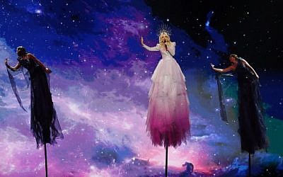 Australia's Kate Miller-Heidke performs the song Zero Gravity during the first semifinal of the 64th edition of the Eurovision Song Contest 2019 at Expo Tel Aviv on May 14, 2019, in the Israeli coastal city. (Jack GUEZ / AFP)