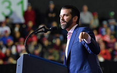 In this February 11, 2019 photo, Donald Trump Jr. speaks at a rally before US President Donald Trump addresses the audience in El Paso, Texas. (Nicholas Kamm/AFP)