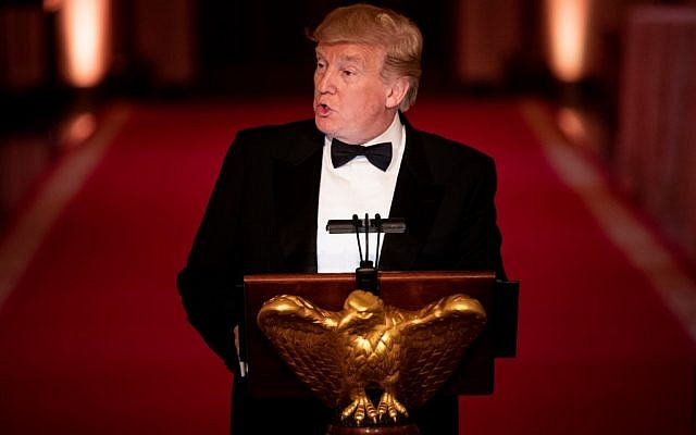 US President Donald Trump speaks during White House Historical Association Dinner in the East Room of the White House on May 15, 2019, in Washington. (Brendan Smialowski/AFP)