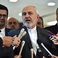 Iranian Foreign Minister Mohammad Javad Zarif (C) answers questions after meeting with his Japanese counterpart Taro Kono at the foreign ministry in Tokyo on May 16, 2019. (Kazuhiro Nogi/AFP)