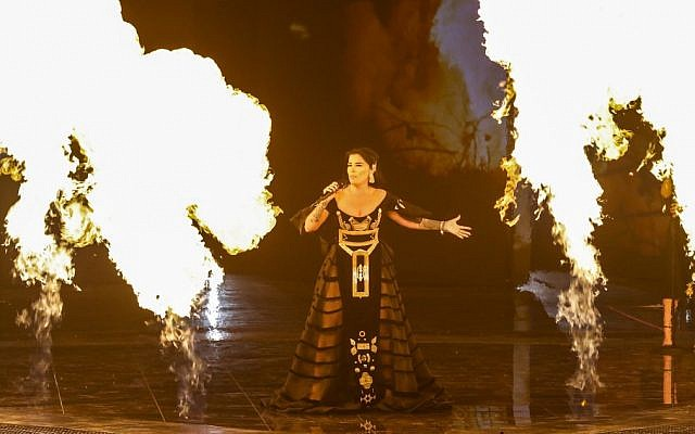 Albania's Jonida Maliqi performs the song Ktheju tokës during the second semi-final of the 64th edition of the Eurovision Song Contest 2019 at Expo Tel Aviv on May 16, 2019. (Jack GUEZ / AFP)
