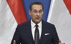 In this file photo taken on May 6, 2019 Austria's Vice-Chancellor and chairman of the Freedom Party FPOe Heinz-Christian Strache gives a press conference at the prime minister's office in Budapest (ATTILA KISBENEDEK / AFP)