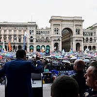 Italian Deputy Prime Minister and Interior Minister Matteo Salvini, center, delivers a speech at a rally of European nationalists ahead of European elections on May 18, 2019, in Milan. (Miguel Medina/AFP)