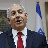 Prime Minister Benjamin Netanyahu speaks during the weekly cabinet meeting at his office in Jerusalem on May 19, 2019. (Ariel Schalit/ Various Sources/ AFP)