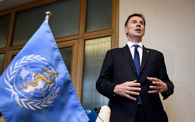 Britain's Foreign Secretary Jeremy Hunt delivers a statement on the sideline of the World Health Assembly on May 20, 2019 at the United Nations Offices in Geneva. (Fabrice COFFRINI / AFP)