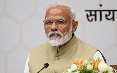 Bharatiya Janata Party leader and Indian Prime Minister Narendra Modi attends a ceremony to thank the Union Council of Ministers for their contribution in India's general election, at BJP headquarters in New Delhi, May 21, 2019. (Prakash Singh/AFP)