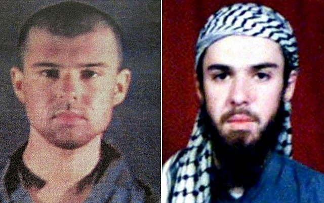 (COMBO) This combination of pictures created on April 17, 2019, shows at left a police file photo made available February 6, 2002 of the 'American Taliban' John Walker Lindh and at right a February 11, 2002 photograph of him as seen from the records of the Arabia Hassani Kalan Surani Bannu madrassa (religious school) in Pakistan's northwestern city of Bannu.(Photo by AFP)