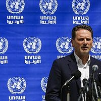 Pierre Krähenbul, Commissioner-General of the United Nations Relief and Works Agency for Palestine (UNRWA), speaks at a press conference in Gaza City on May 23, 2019. (MOHAMMED ABED / AFP)