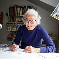 In this file photo from  June 12, 2018, German-born British author and illustrator Judith Kerr, poses for a photograph at her home in west London on June 12, 2018. (Tolga Akmen/AFP)