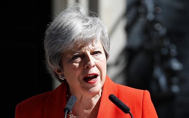Britain's Prime Minister Theresa May announces her resignation outside 10 Downing Street in central London on May 24, 2019. (Tolga Akmen/AFP)