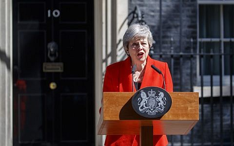 Britain's Prime Minister Theresa May announces her resignation outside 10 Downing Street in London on May 24, 2019. (Tolga Akmen/AFP)