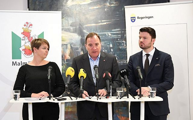 Katrin Stjernfeldt Jammeh, left, of the Social Democrats, Swedish Prime Minister and Social Democratic Party leader Stefan Loefven, center, and Roko Kursar of The Liberals give a joint press conference on May 24, 2019 in Malmo, Sweden, announcing the country will hold an international conference against anti-Semitism in 2020. (Johan Nilsson/TT News Agency/AFP)