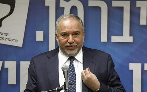 Former Defence Minister Avigdor Liberman speaks during his Yisrael Beitenu party session at the Knesset in Jerusalem on May 27, 2019. (MENAHEM KAHANA / AFP)