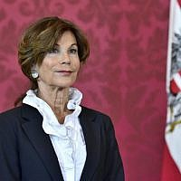 President of the Constitutional Court Brigitte Bierlein after she was named as interim chancellor by Austrian President on May 30, 2019, at the Chancellery in Vienna. (HANS PUNZ/APA/AFP)