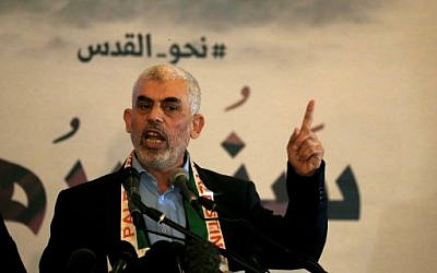 Hamas leader in the Gaza Strip Yahya Sinwar speaks during a press conference for Quds (Jerusalem) day in Gaza City on 30 May 2019. (Mohammed Abed/AFP)