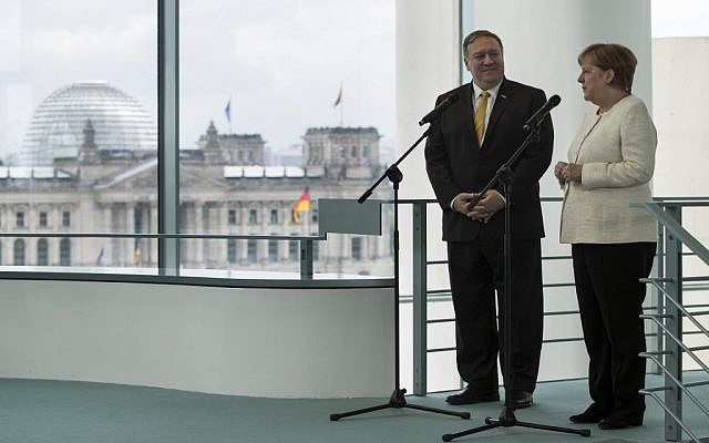 German Chancellor Angela Merkel and US Secretary of State Mike Pompeo speak to media prior to a meeting at the Chancellery in Berlin on May 31, 2019. (Odd Andersen/AFP)