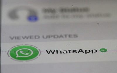 The WhatsApp messaging app is displayed on an iPhone on May 14, 2019, in San Anselmo, California. (Justin Sullivan/Getty Images)