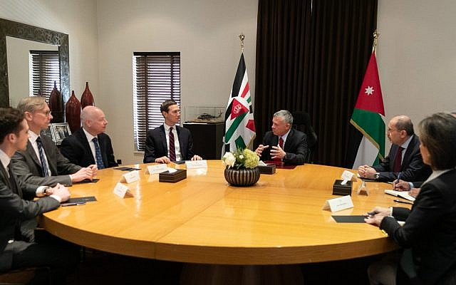 Jordan's King Abdullah II (center) meets White House adviser Jared Kushner (4th from left) and US special envoy Jason Greenblatt, (3rd from left) in Amman on May 29, 2019. (Petra News)