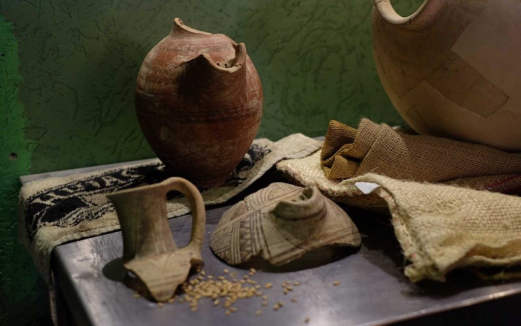 Some of the pottery sherds which were used to isolate strains of thousands of year old yeast to produce new batches of 'ancient beer,' on May 22, 2019 in Jerusalem. (Judah Ari Gross/Times of Israel)