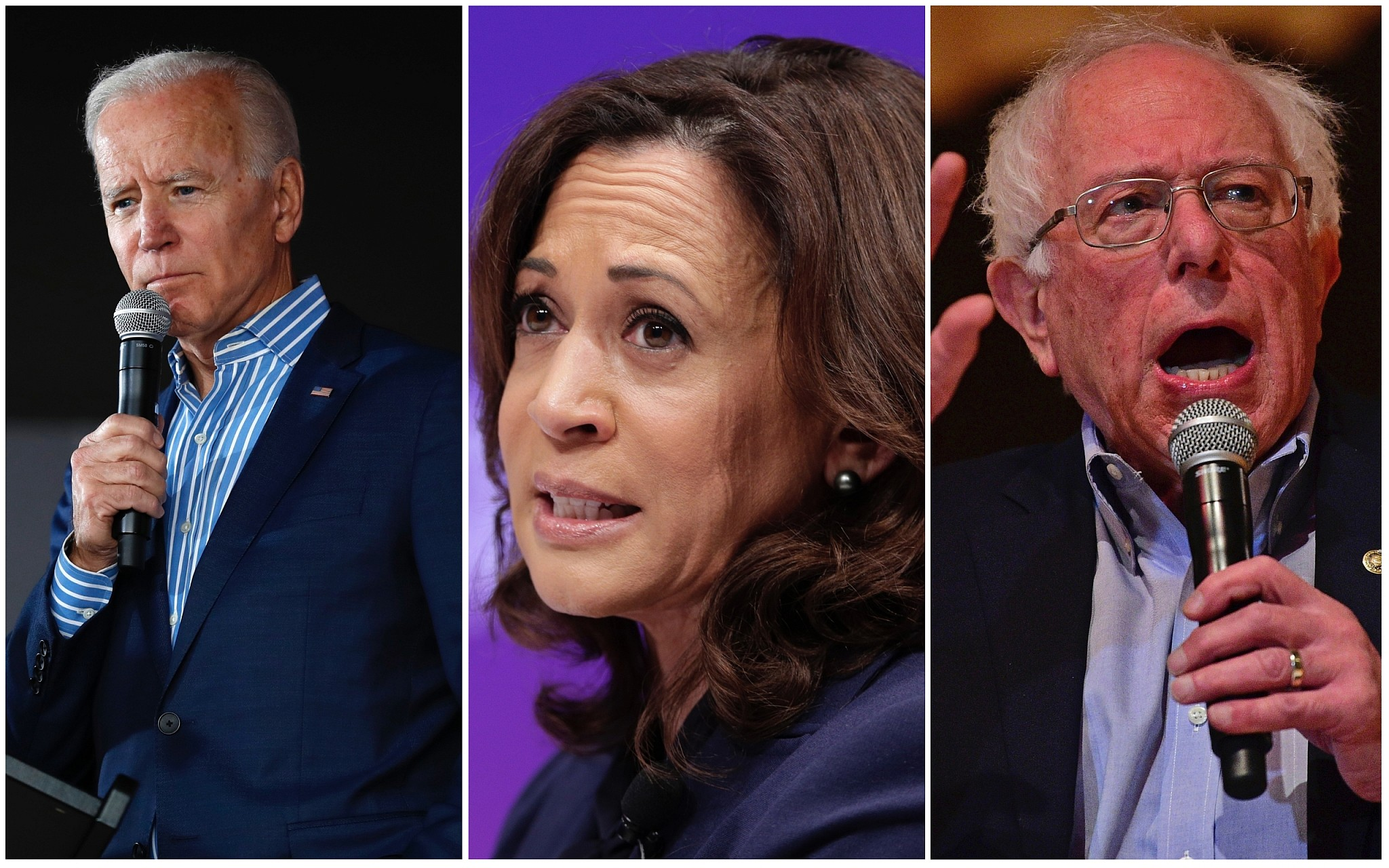 Democratic 2020 presidential hopefuls Joe Biden, Kamala Harris and Bernie Sanders (All images AP)