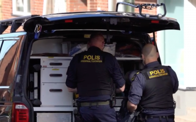 Screen capture from video of Swedish police at the scene where a Jewish woman was stabbed in Helsingborg, May 14, 2019. (Screenshot from Aftonbladet via JTA)